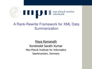 A Rank-Rewrite Framework for XML Data Summarization
