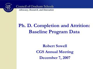 Ph. D. Completion and Attrition:  Baseline Program Data
