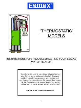 INSTRUCTIONS FOR TROUBLESHOOTING YOUR EEMAX WATER HEATER