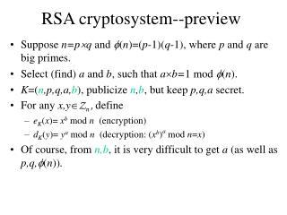 RSA cryptosystem--preview