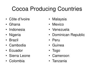 Cocoa Producing Countries