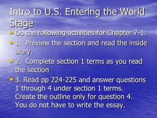 Intro to U.S. Entering the World Stage