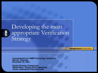 Developing the most appropriate Verification Strategy
