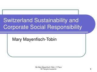 Switzerland Sustainability and Corporate Social Responsibility