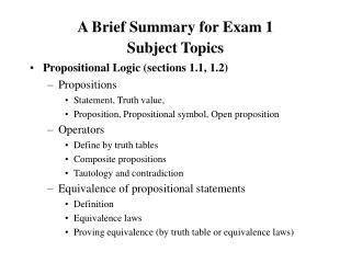 A Brief Summary for Exam 1