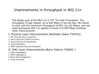 Improvements in throughput in 802.11n