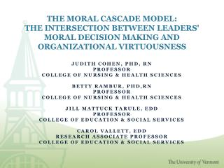 THE MORAL CASCADE MODEL: THE INTERSECTION BETWEEN LEADERS MORAL DECISION MAKING AND ORGANIZATIONAL VIRTUOUSNESS