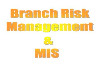 Branch Risk  Management      MIS