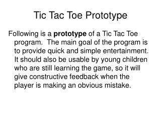 Tic Tac Toe Prototype