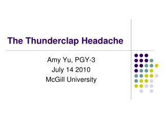 The Thunderclap Headache