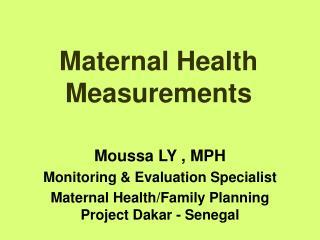 Maternal Health Measurements
