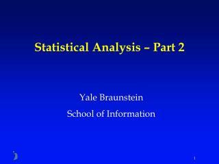 Statistical Analysis   Part 2