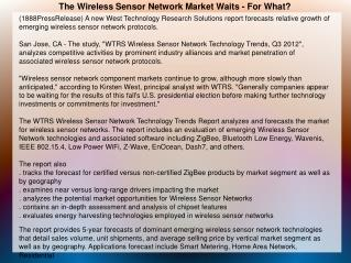 The Wireless Sensor Network Market Waits - For What?