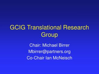 GCIG Translational Research Group