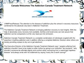 Canada Welcomes The Addiction Canada Treatment Network