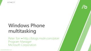 Windows Phone multitasking