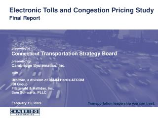Electronic Tolls and Congestion Pricing Study