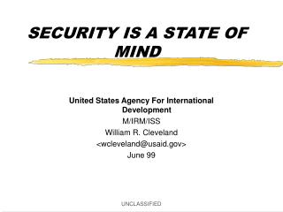 SECURITY IS A STATE OF MIND