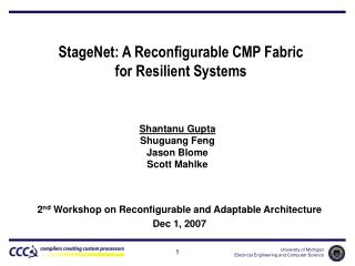 StageNet: A Reconfigurable CMP Fabric for Resilient Systems