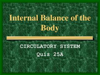 Internal Balance of the Body