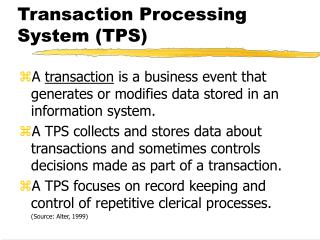 Transaction Processing System TPS