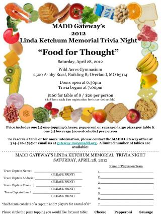 MADD GATEWAY S LINDA KETCHUM MEMORIAL  TRIVIA NIGHT         SATURDAY, APRIL 28, 2012
