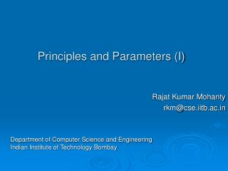Principles and Parameters I