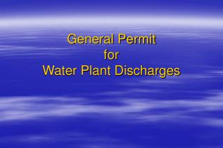 General Permit for Water Plant Discharges