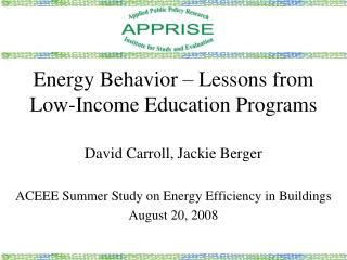 Energy Behavior   Lessons from Low-Income Education Programs
