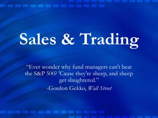 Sales  Trading