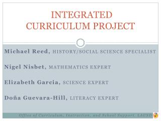 INTEGRATED  CURRICULUM PROJECT