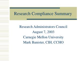 Research Compliance Summary