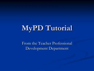MyPD Tutorial
