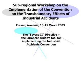 Sub-regional Workshop on the Implementation of the Convention on the Transboundary Effects of Industrial Accidents  Erev