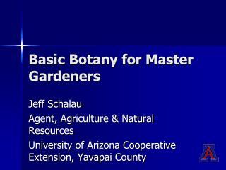 Basic Botany for Master Gardeners