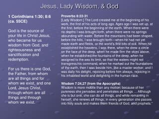 Jesus, Lady Wisdom,  God