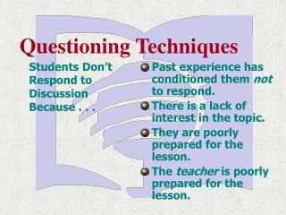 Students Don t Respond to Discussion Because . . .