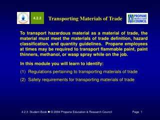 Transporting Materials of Trade