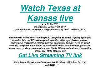 Texas at Kansas live watching | Men's College Basketball | s
