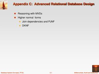 Appendix C:  Advanced Relational Database Design