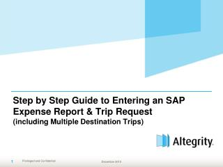 Step by Step Guide to Entering an SAP Expense Report  Trip Request including Multiple Destination Trips