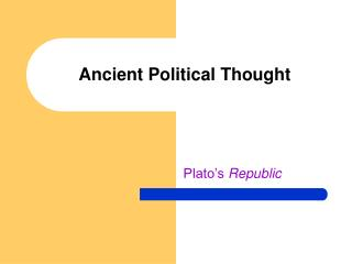 Ancient Political Thought