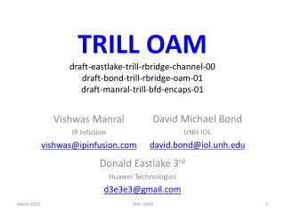 TRILL OAM draft-eastlake-trill-rbridge-channel-00 draft-bond-trill-rbridge-oam-01 draft-manral-trill-bfd-encaps-01