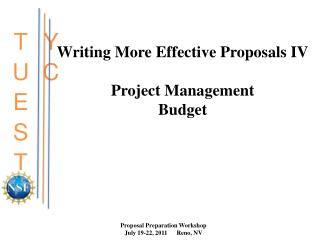 Writing More Effective Proposals IV  Project Management Budget