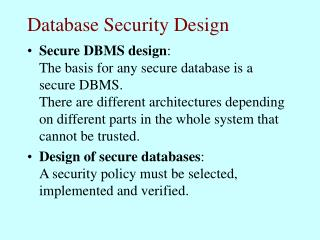 Database Security Design