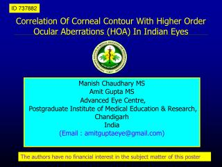 Correlation Of Corneal Contour With Higher Order Ocular Aberrations HOA In Indian Eyes