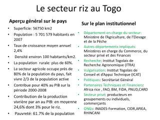 Le secteur riz au Togo