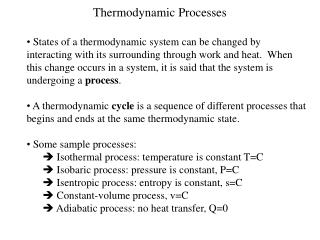 Thermodynamic Processes