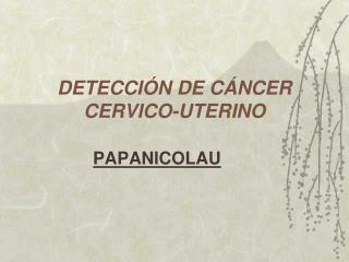 DETECCI N DE C NCER CERVICO-UTERINO