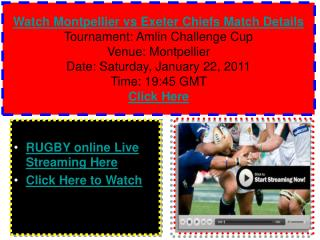 Watch Montpellier vs Exeter Chiefs Rugby match of Amlin Chal